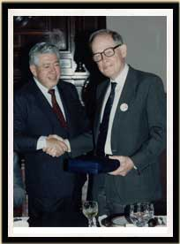 Chilean Acting Foreign Minister Edmundo Vargas recognizes Lister's work on human rights and democracy in Chile, 1992.