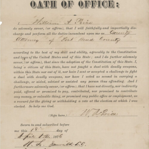 A sepia-toned archival document from 1876 attesting that William Price was licensed to practice law