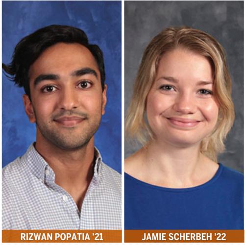 Texas Law Rizwan Popatia '21 and Jamie Scherbeh '22