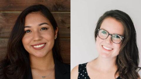 Portraits of Class of 2024 Equal Justice Scholar Araceli Garcia, and Wayne Reaud Scholar Courtney Weber