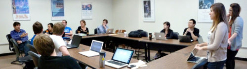 Clinic students in class with Professor Dulitzky (far left) during spring 2014.