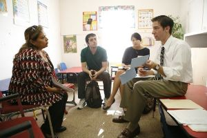 Students meeting with clients in the Rancho Vista Community. Left to Right: Marina Garza, Arthur Rodrigues, Joyce Men and Matthew Badders.