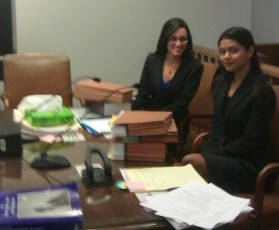 Clinic students in Immigration Court before a client's final hearing.