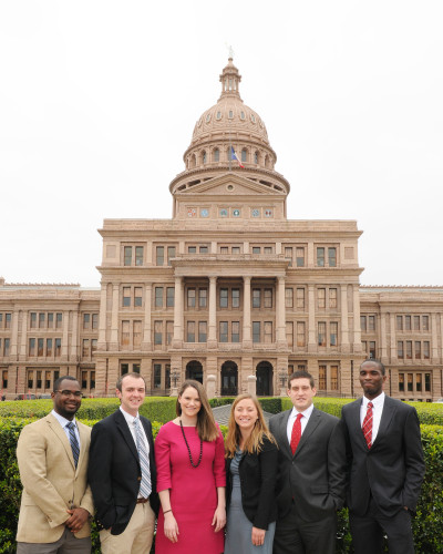 2015 Legislative Interns, Fredrick Keith, Joel Simmons, Mary Bishop, Helen Kelley, Dave Player, and Mikson Ehemika.