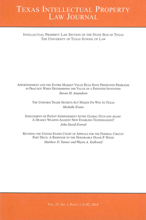Texas Intellectual Property Law Journal Volume 23 Issue 1 cover
