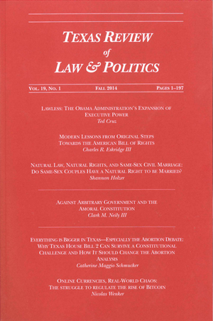 Texas Review of Law & Politics Volume 19 Issue 1 cover