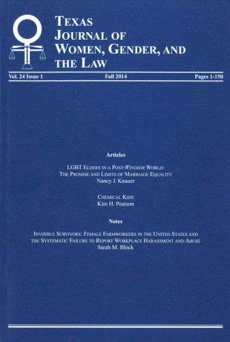 Texas Journal of Women Gender and the Law cover art