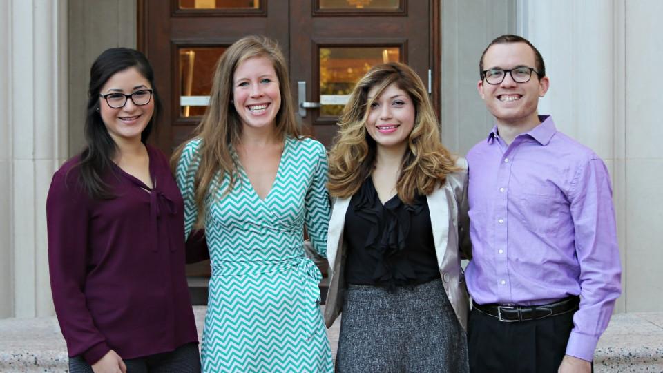 2014-15 Mithoff Pro Bono Scholars: Andrea Meza, Colleen Mulholland, Berenice Medelllin and Bryan Zubay