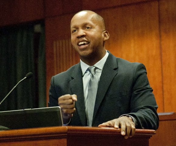 "Bryan Stevenson, executive director of the Equal Justice Initiative, delivers the keynote address for ""Lynching and the Death Penalty,"" March 2012"