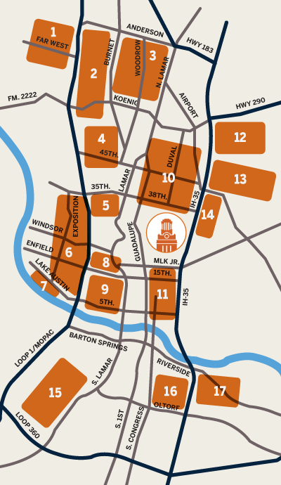 Map of Austin Neighborhoods (referenced by the adjacent table of information)