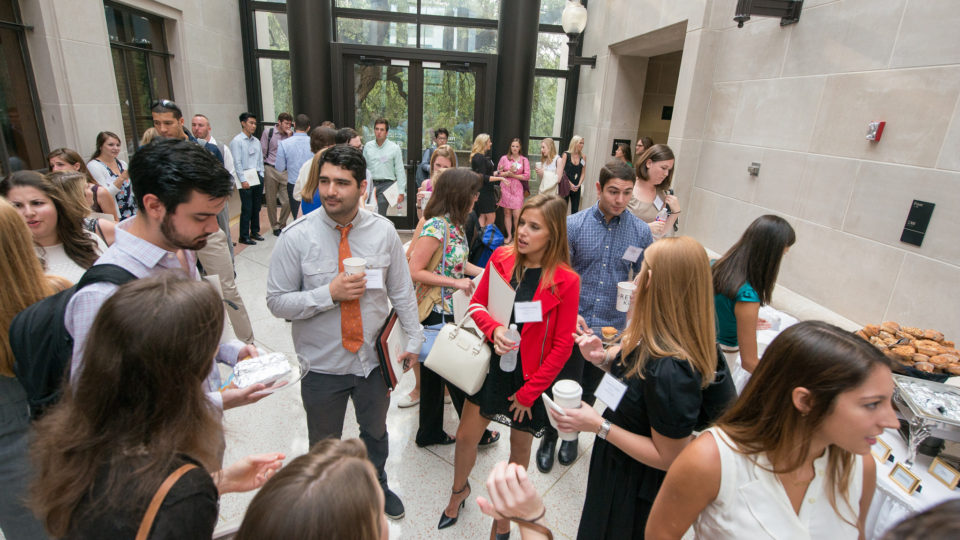 students at reception