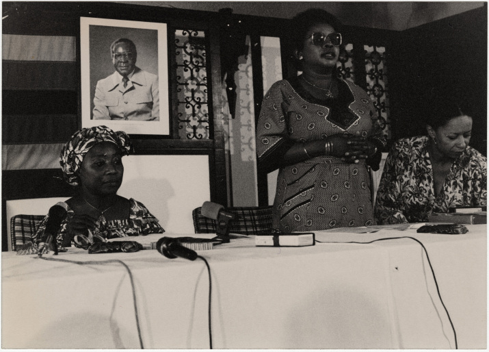 Panel discussion at an unidentified African Women's meeting, possibly the Peace Tent at the 1985 NGO forum