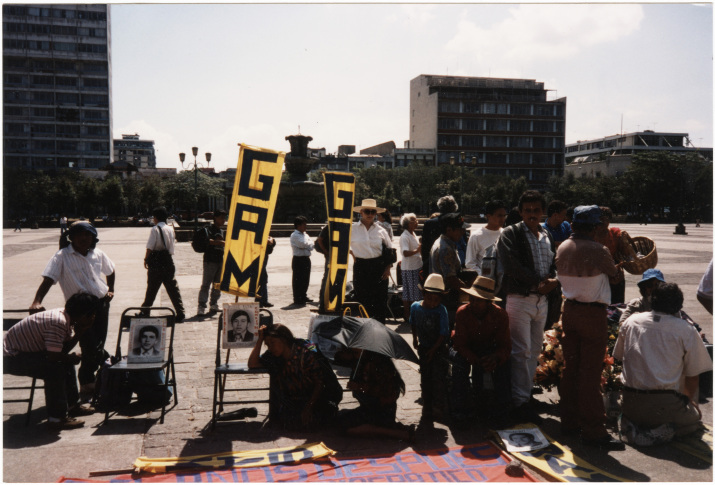 "Photograph of Frances ""Sissy"" Farenthold and Jennifer Harbury at Harbury's hunger strike in Guatemala City, Guatemala."