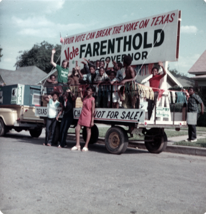 "Photo from 1972 Gubernatorial Election Campaign ""Vote for Farenthold"""
