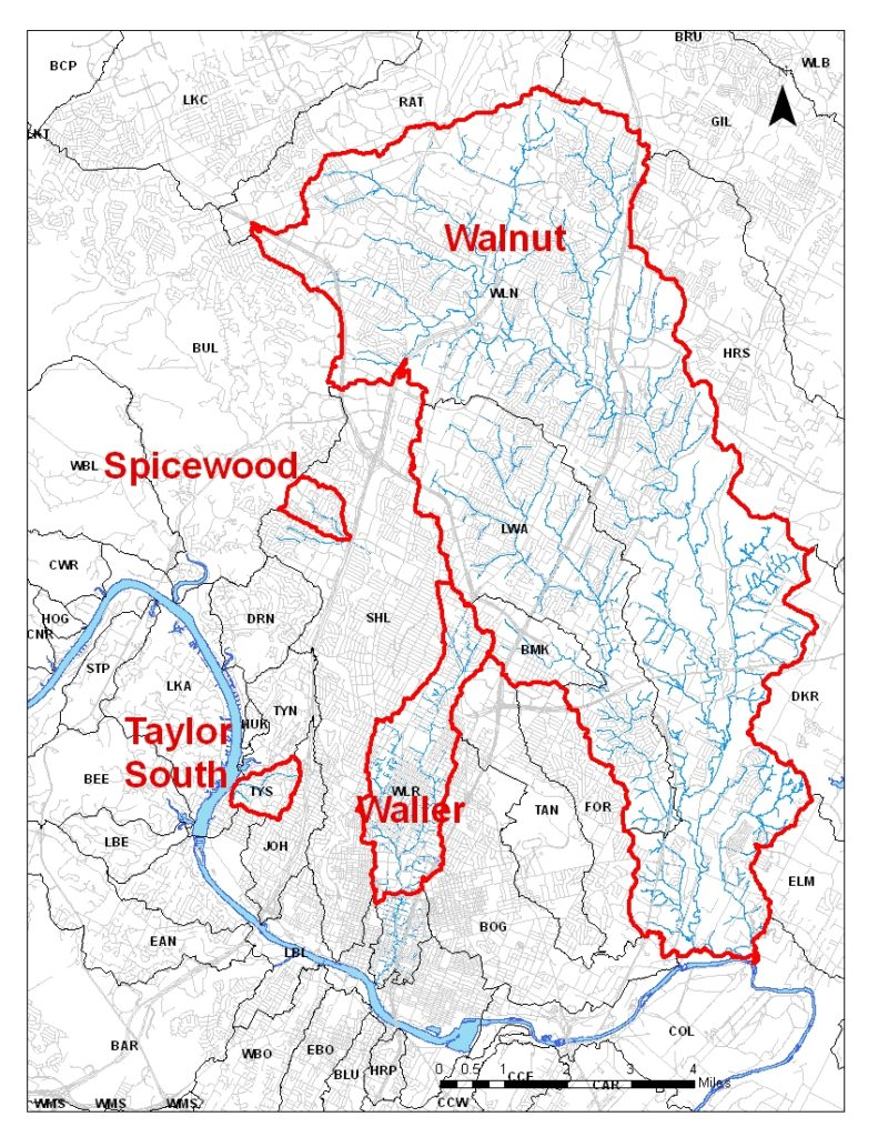 Map of Austin watersheds listed as impaired for contact recreation.