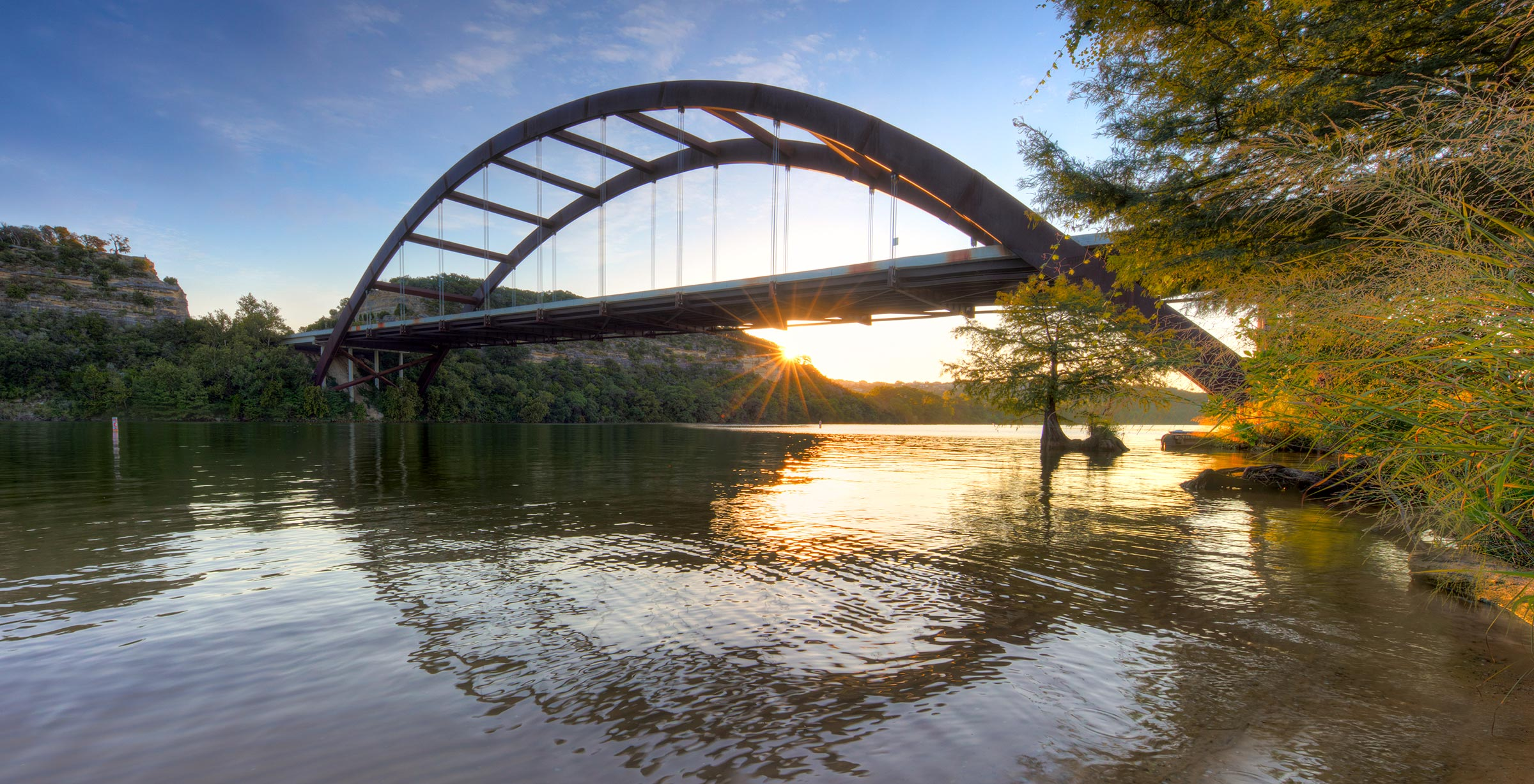 The Austin 360 Pennybacker Bridge at sunrise