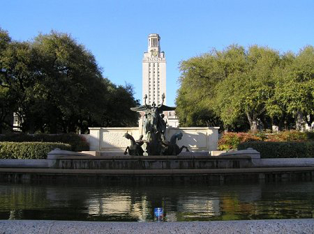 UT Tower with pond and sculpture