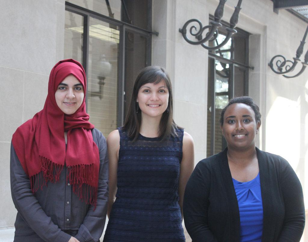 2015-2016 Human Rights Scholars (left to right) Safa Peera, Helen Kerwin, and Mihret Getabicha