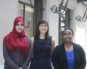 ​2015-2016 Human Rights Scholars (left to right) Safa Peera, Helen Kerwin, and Mihret Getabicha