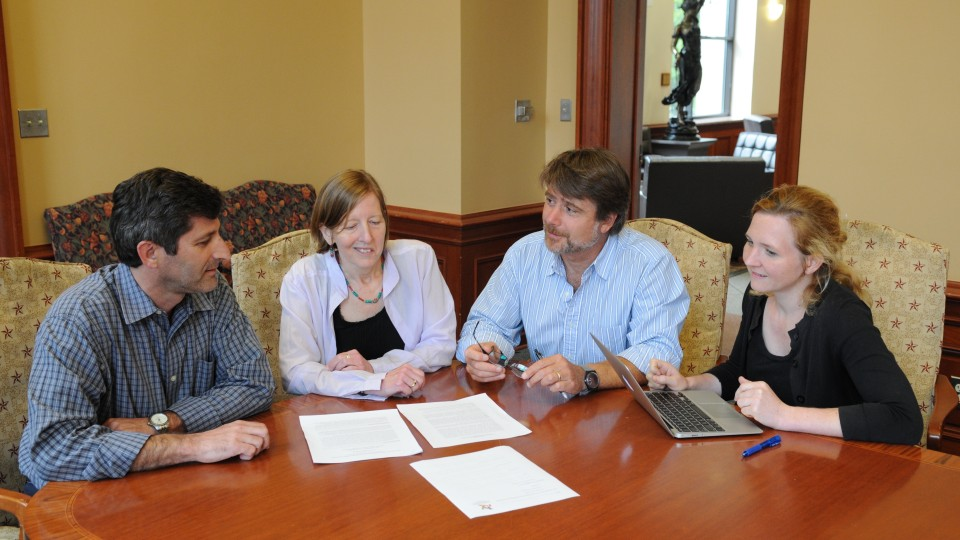 Ariel Dulitzky, Karen Engle, Daniel Brinks, and Julia Dehm meet to discuss project on inequality and human rights