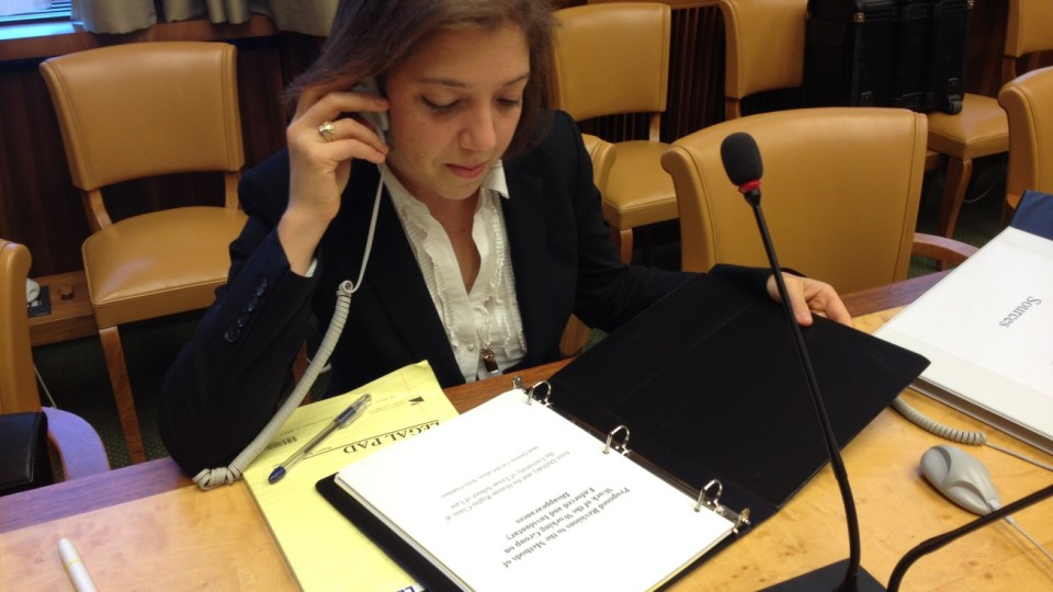 Human Rights Clinic student working a project.