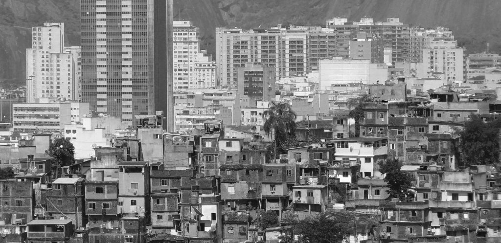 Office towers and favela in Rio de Janeiro