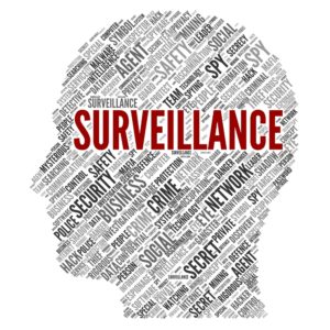 surveillance word cloud forming a head