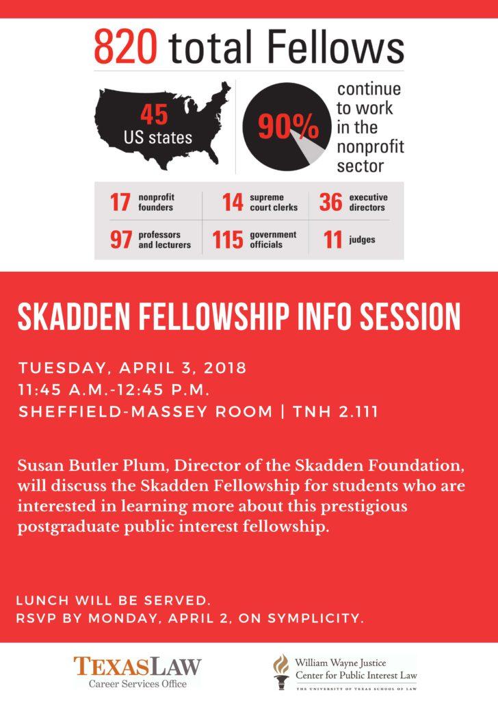 Flyer advertising Skadden info session