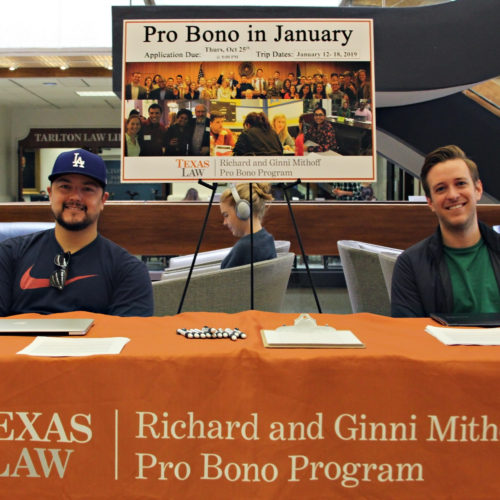 Students at pro bono table