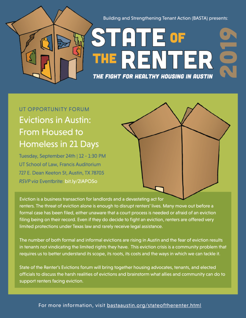 Graphic Flyer for Evictions event