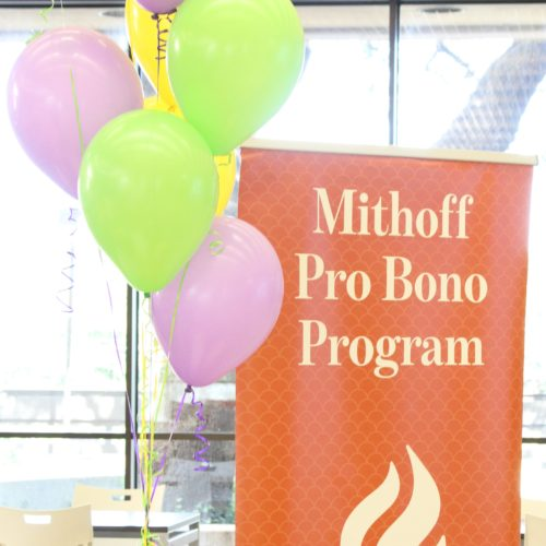 Pro Bono banner with balloons