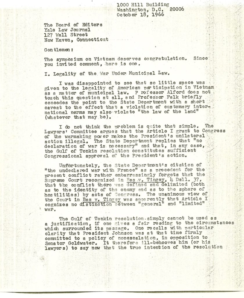 The Michael Tigar Archive | Letter to Yale Law Journal Editors about