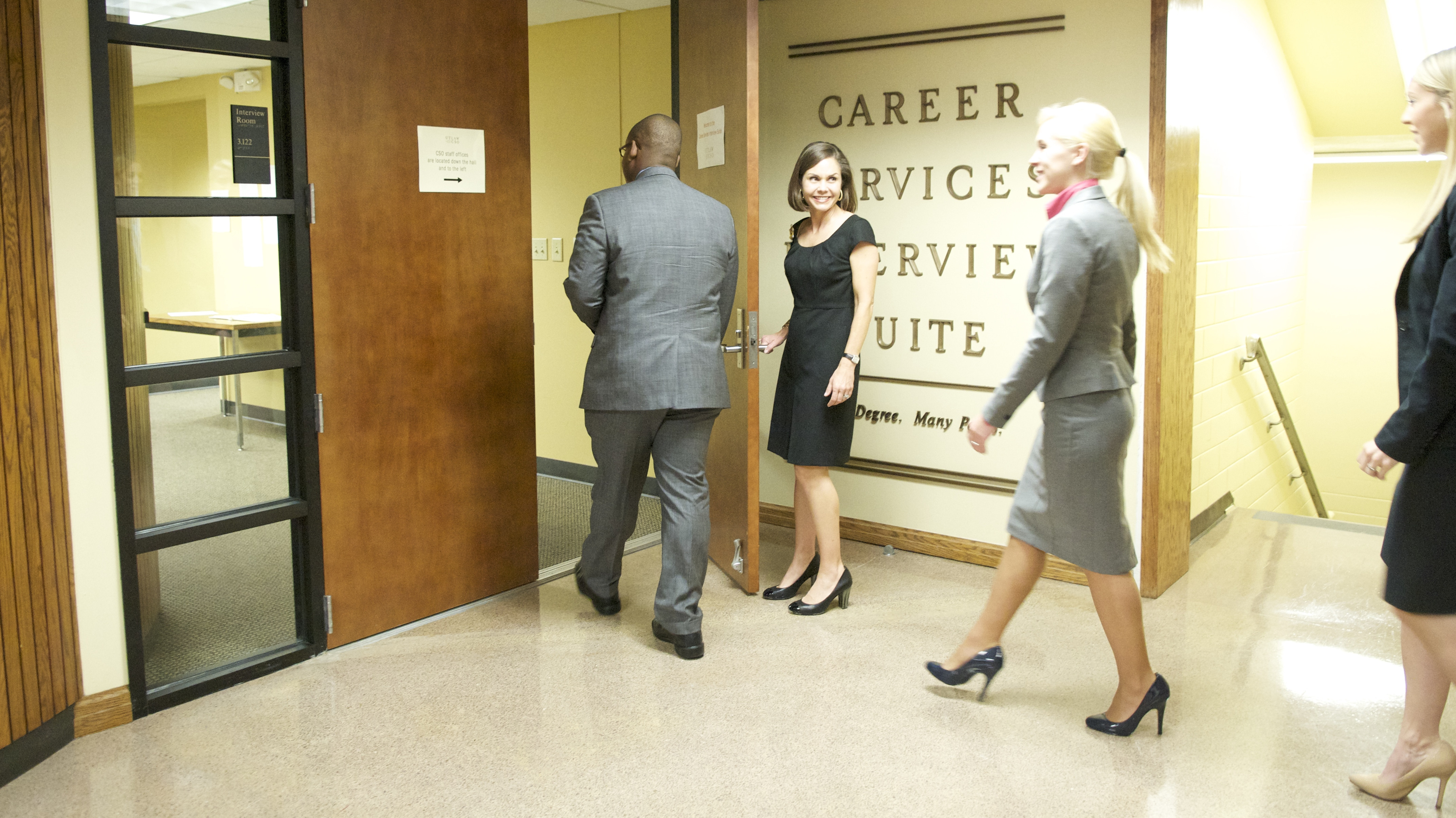 Students entering Career Services Interview Suite