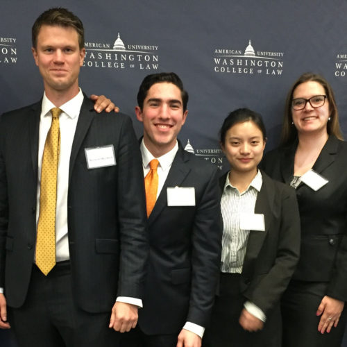 LL.M. students and coaches at 2018 International Commercial Arbitration Moot Competition at American University Washington College of Law.