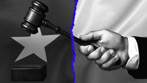 Design of Texas flag and a law gavel over a blue wash map