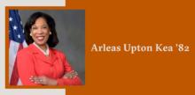 Slide with a portrait of Arleas Upton Kea '82 on top of a burnt orange background.