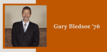 Slide with a portrait of Gary Bledsoe on top of a burnt orange background.