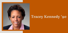 Slide with a portrait of Tracey Kennedy on top of a burnt orange background.