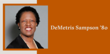 Slide with a portrait of DeMetris Sampson on top of a burnt orange background.