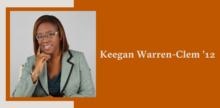 Slide with a portrait of Keegan Warren-Clem on top of a burnt orange background.