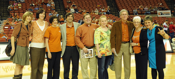 On February 6, 2013, the UT Athletics Academic Accolades Program recognized the work of (left to right) Law School clinical faculty Heather Way, Jeana Lungwitz, Barbara Hines, and Ariel Dulitzky. Also recognized were Dr. Lynn Rew of the UT-Austin School of Nursing (second from right), standing with her family and UT Women's Athletics Director Chris Plonsky (far right).