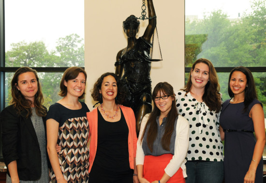 Pictured from left to right are 2013 Service Award recipients Hannah Vahl, Erin Gaines, Abby Anna Batko-Taylor, Maggie Cheu, Amy Friedman, and Megan Sheffield