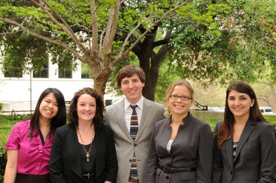 The 2013 Baron & Budd Public Interest Summer Fellows are, left to right, Linda Chen, Claire Mueller, Michael Sullivan, Alina Flasinska, and Lillian Mayeux, all Class of 2015.