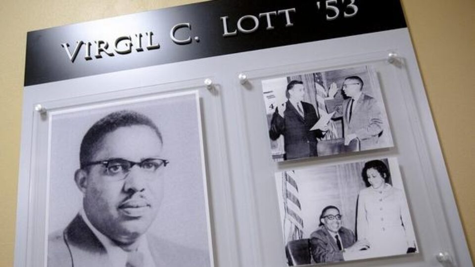 Three photos in wall plaque honoring Virgil C. Lott '53