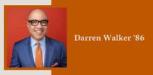 Slide with a portrait of Darren Walker '86 on top of a burnt orange background.