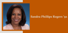 Slide with a portrait of Sandra Phillips Rogers '91 on top of a burnt orange background.