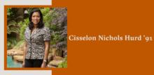 Slide with a portrait of Cisselon Nichols Hurd on top of a burnt orange background.