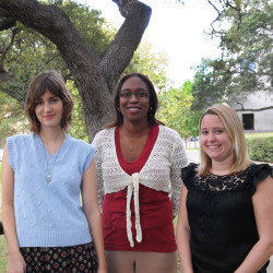 The 2011–2012 Baron & Budd Public Interest Scholars are, left to right, Hannah Liddell, '12; Keegan Warren-Clem, '12; and  Margaret Clifford, '12.