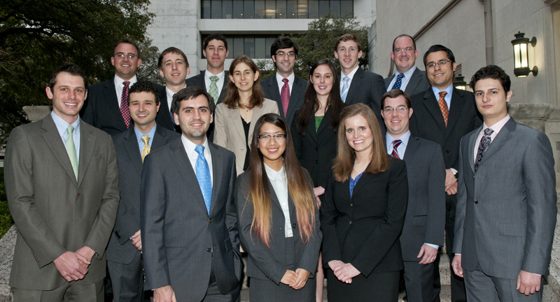 The University of Texas School of Law congratulates the 2012 Chancellors. Front rows, left to right: Jeff Nardinelli, Jeremy Michael Reichman, Gabriel Herbert Markoff, Joyce Yin-En Young, Sidney Kayann Smith, Charles Elerba Fowler, and Adam Jacob Moss. Back rows, left to right: Rafe Aron Schaefer, David Jonathan Kohtz, Ryan Mitchell Goldstein, Kasyn McCall Stevenson, Michael Thomas Raupp, Kristin Malone, Scott Jackson Fulford, Jeffrey Todd Quilici, and David Enrique Armendariz.