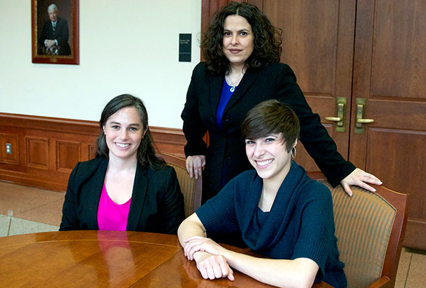 Children's Rights Clinic jury trial team (from left to right): student attorney Brooke Ginsburg, '14, supervising attorney Leslie Strauch and student attorney Rebeca Ojeda, '15.